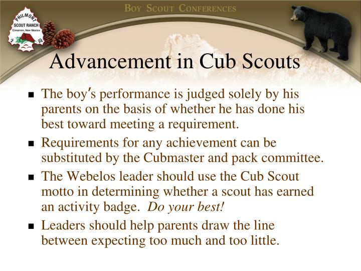 Advancement in Cub Scouts