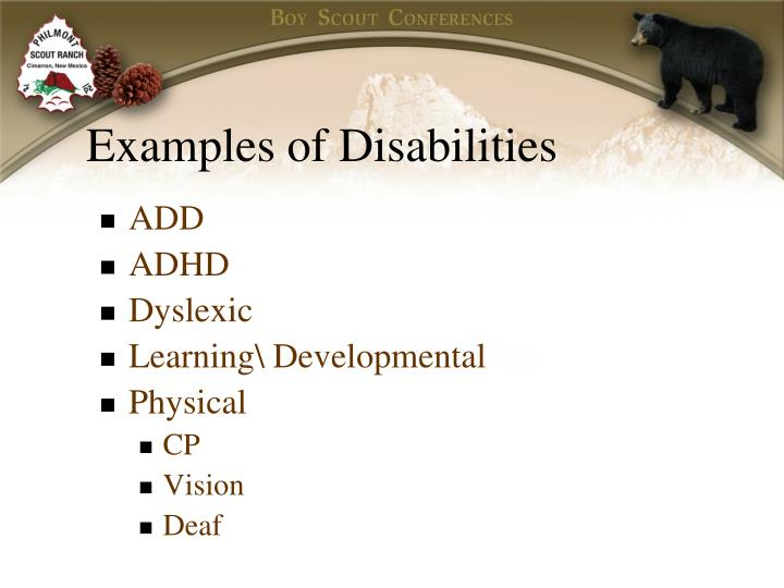 Examples of Disabilities