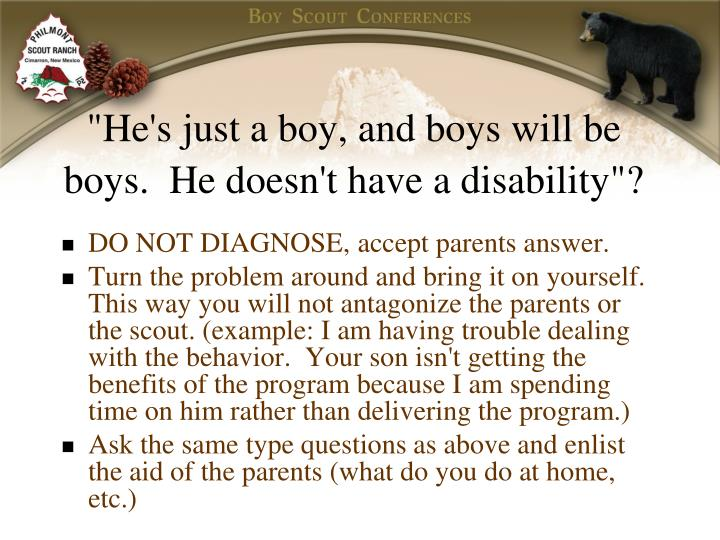 """He's just a boy, and boys will be boys.  He doesn't have a disability""?"