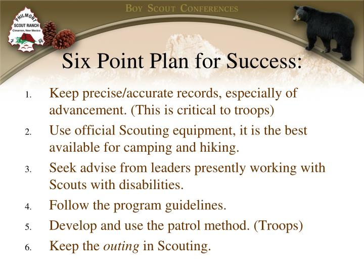 Six Point Plan for Success: