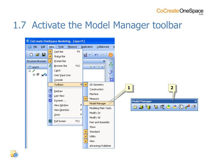 1.7  Activate the Model Manager toolbar