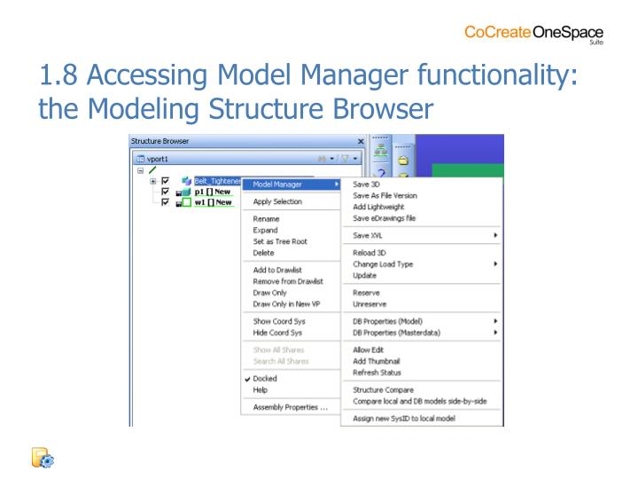 1.8 Accessing Model Manager functionality: the Modeling Structure Browser