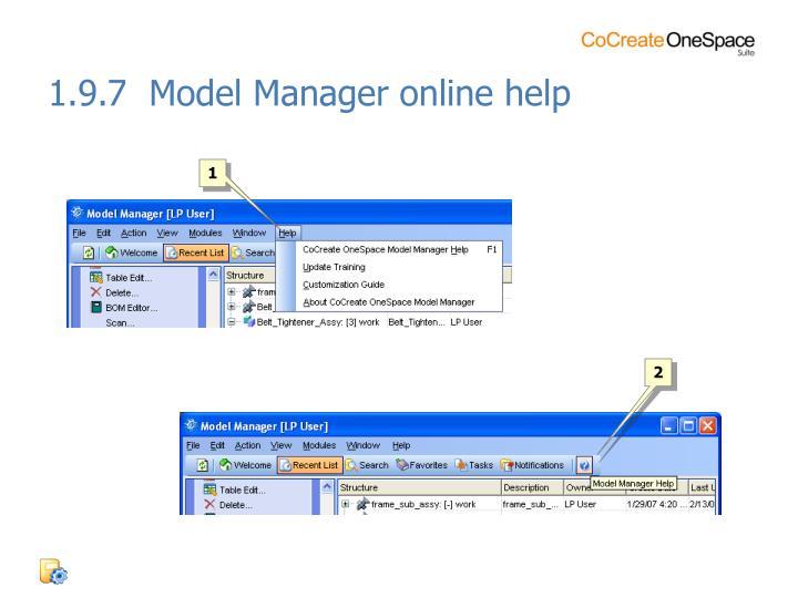 1.9.7  Model Manager online help