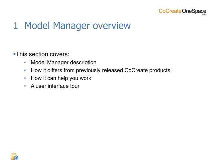 1  Model Manager overview
