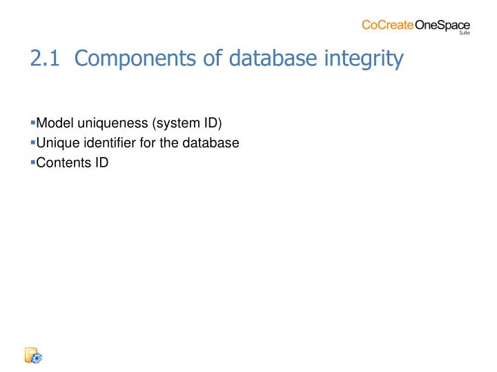 2.1  Components of database integrity