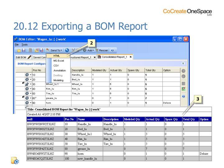 20.12 Exporting a BOM Report