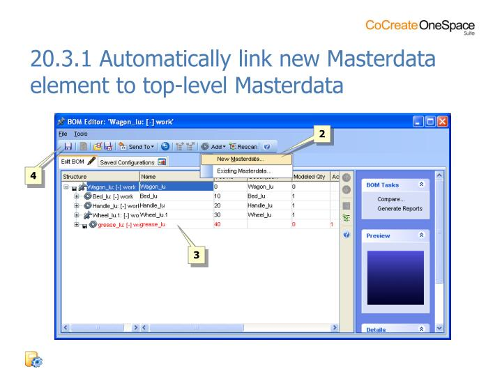 20.3.1 Automatically link new Masterdata element to top-level Masterdata