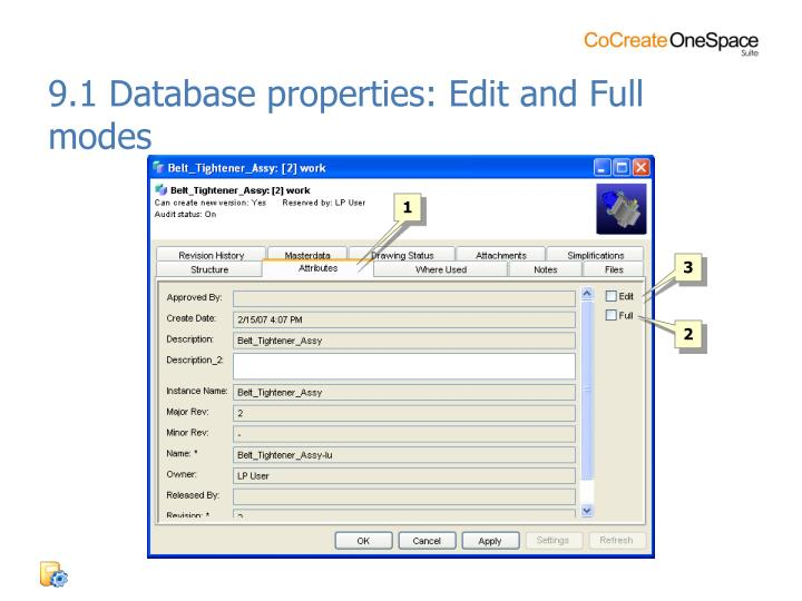 9.1 Database properties: Edit and Full modes