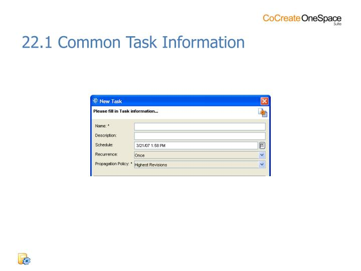 22.1 Common Task Information