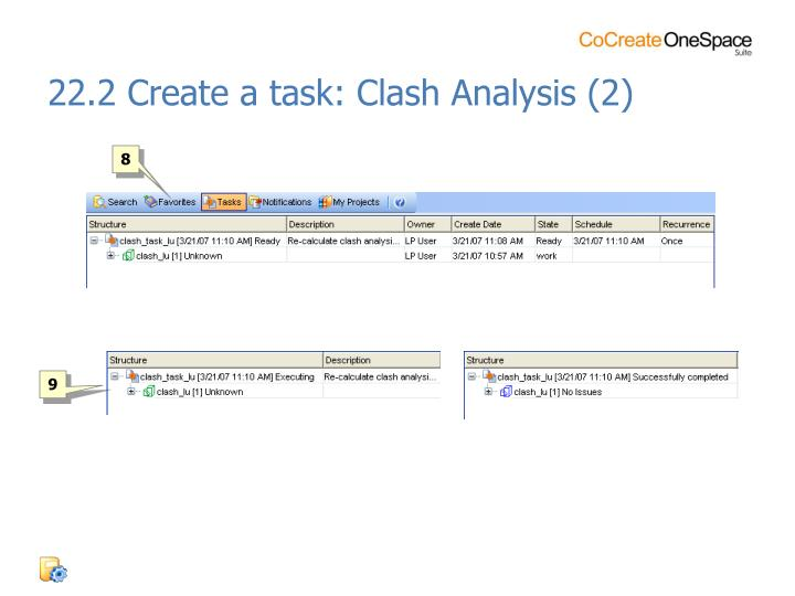 22.2 Create a task: Clash Analysis (2)
