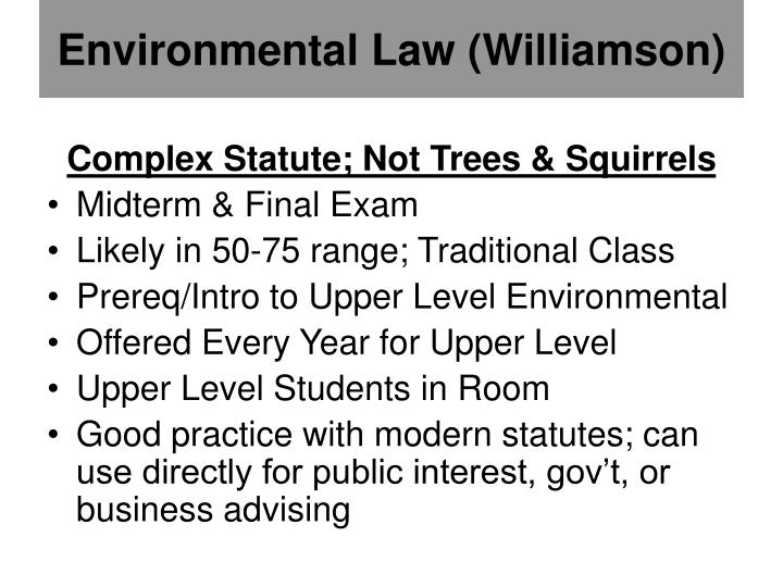 Environmental Law (Williamson)