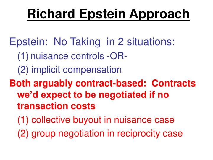 Richard Epstein Approach