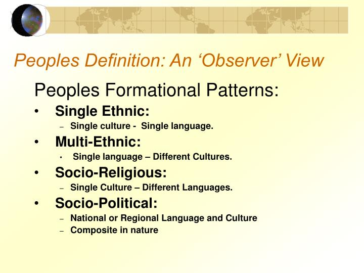 Peoples Definition: An 'Observer' View