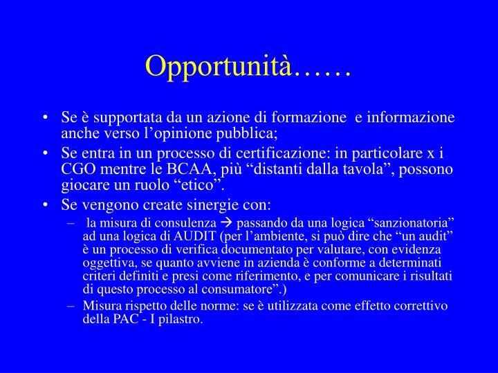 Opportunità……