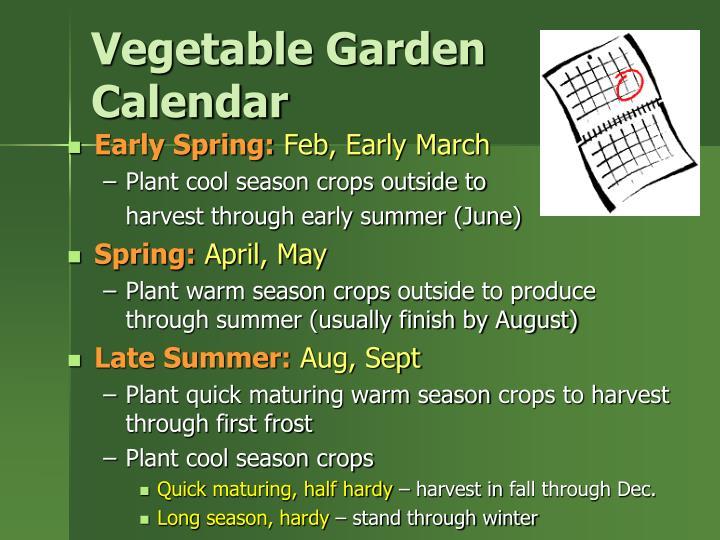 Vegetable Garden Calendar