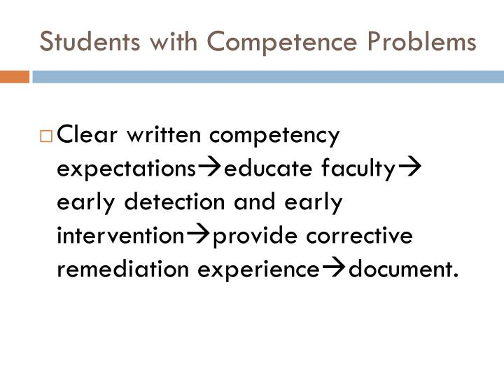 Students with Competence Problems