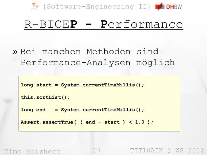 Bei manchen Methoden sind Performance-Analysen möglich