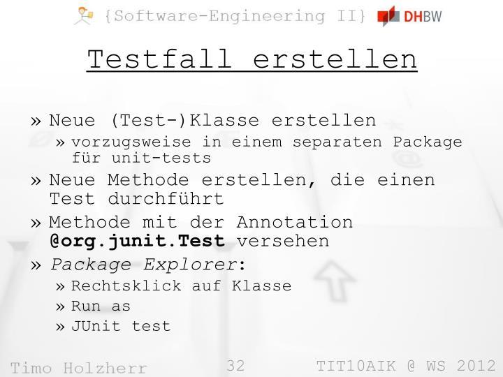Neue (Test-)Klasse erstellen