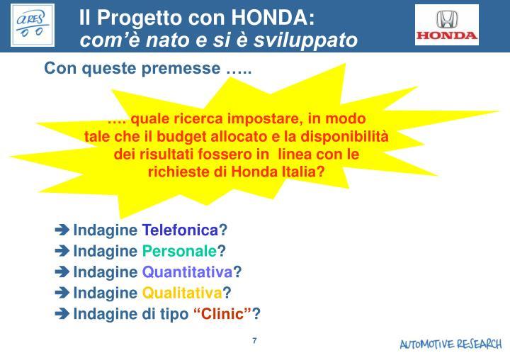 Il Progetto con HONDA: