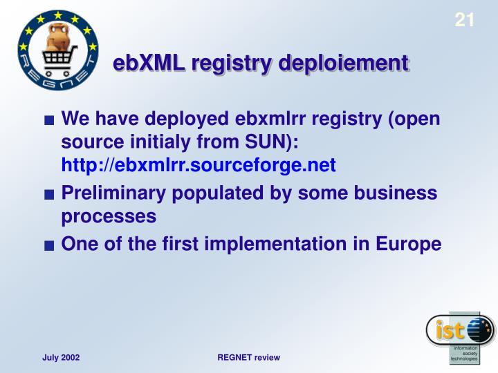 ebXML registry deploiement