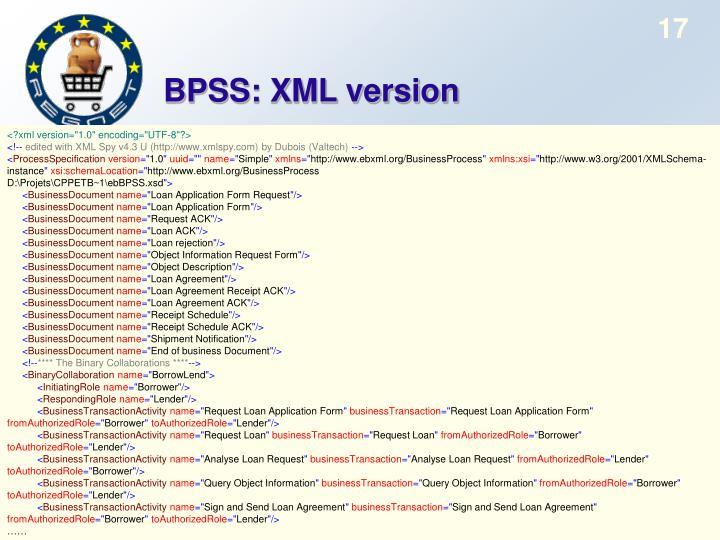BPSS: XML version