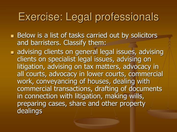 Exercise: Legal professionals