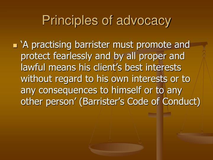 Principles of advocacy