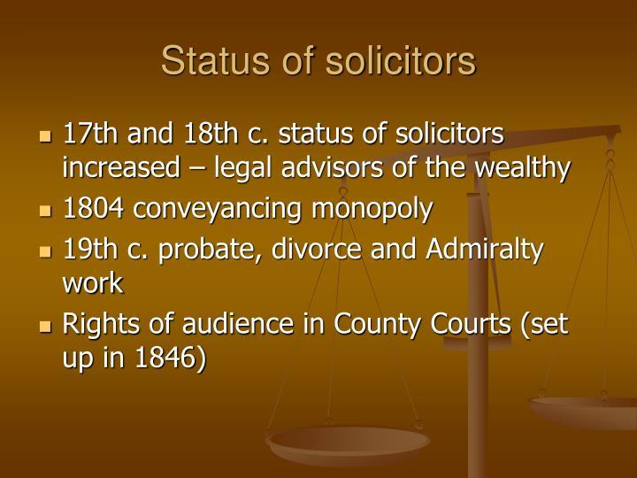 Status of solicitors