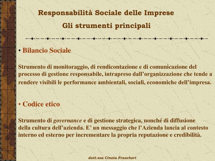 Responsabilità Sociale delle Imprese