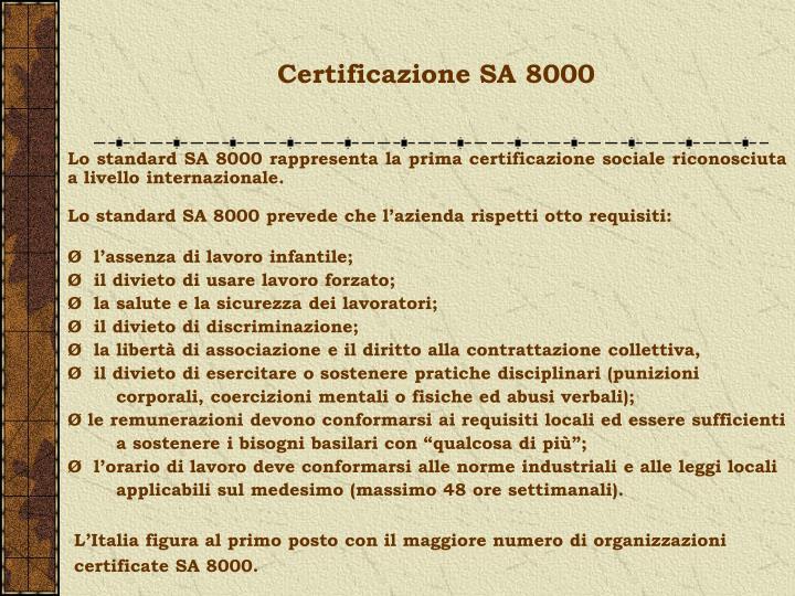 Certificazione SA 8000