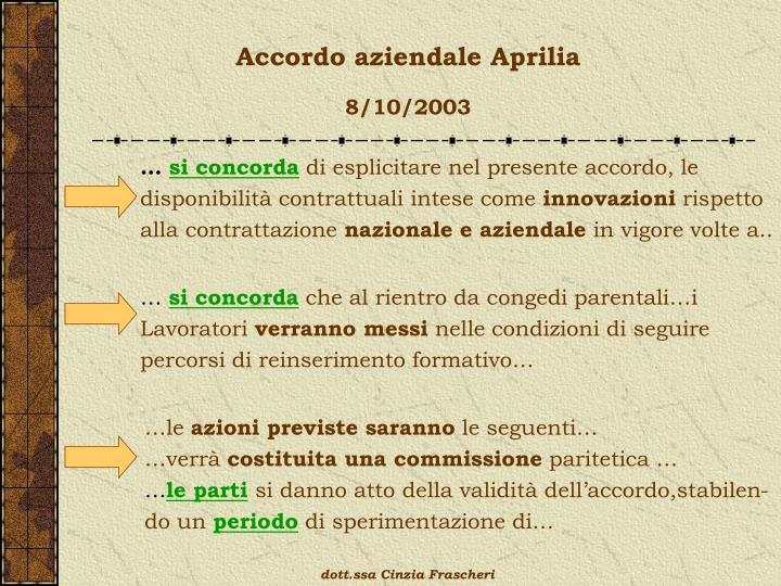 Accordo aziendale Aprilia