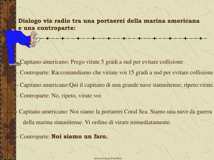 Dialogo via radio tra una portaerei della marina americana e una controparte:
