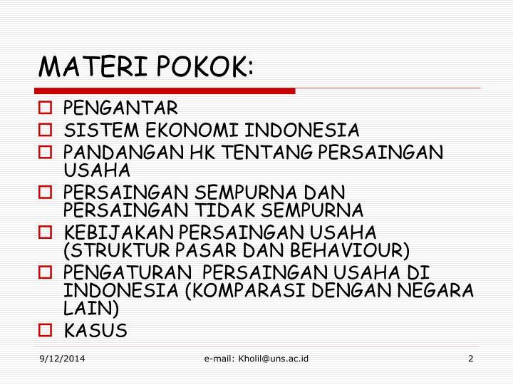 MATERI POKOK: