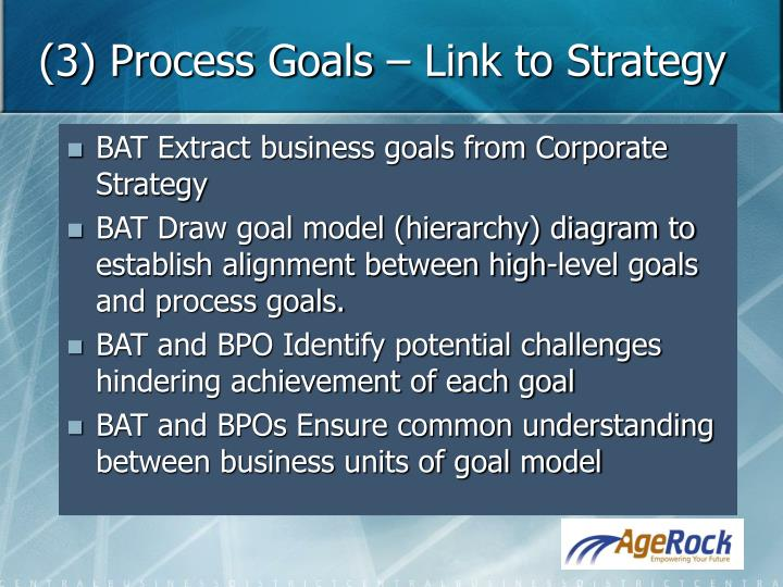 (3) Process Goals – Link to Strategy