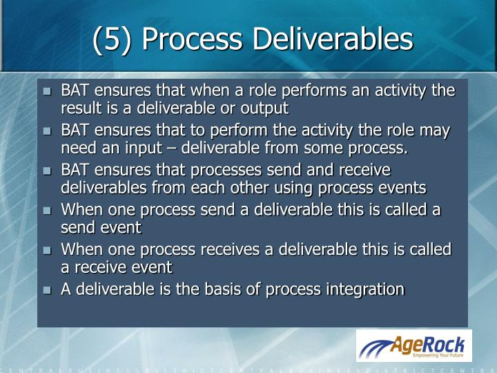 (5) Process Deliverables