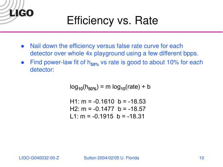 Efficiency vs. Rate