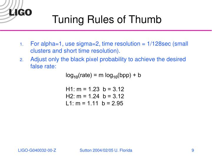 Tuning Rules of Thumb