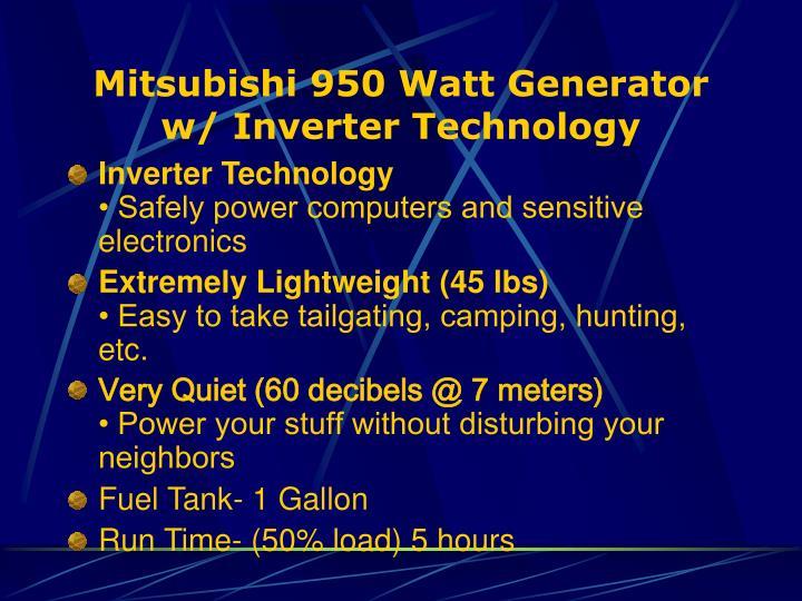 Mitsubishi 950 Watt Generator w/ Inverter Technology