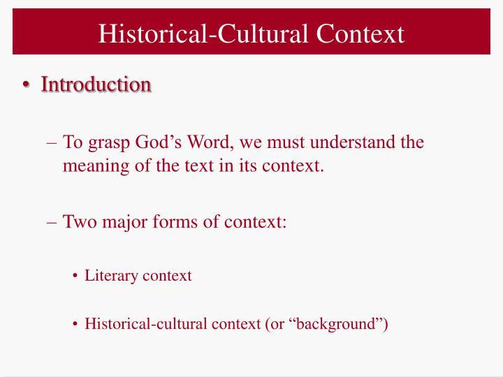 Historical-Cultural Context
