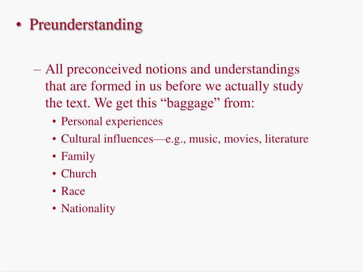 Preunderstanding