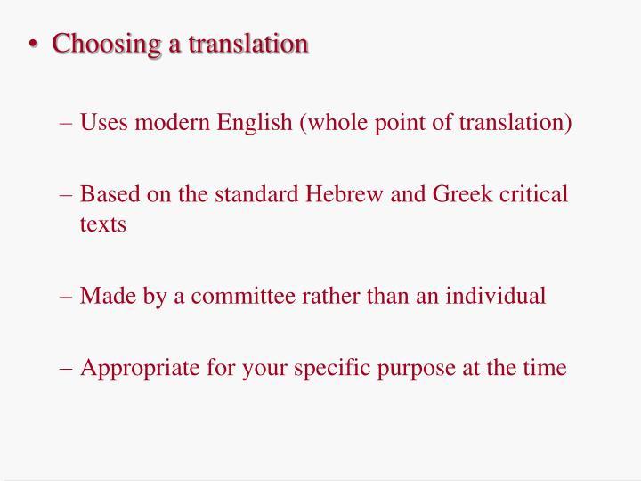 Choosing a translation