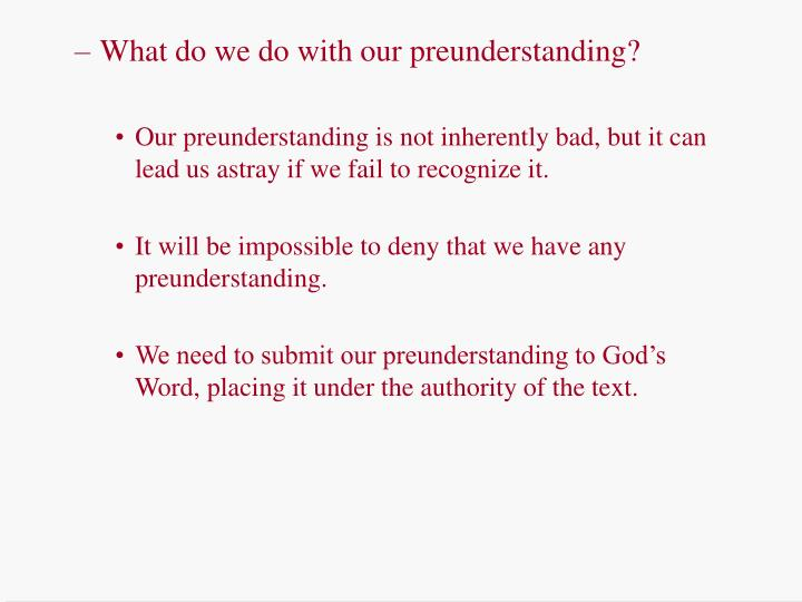 What do we do with our preunderstanding?