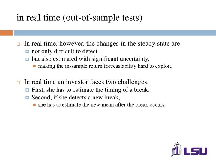 in real time (out-of-sample tests)
