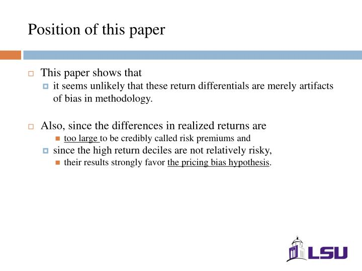 Position of this paper
