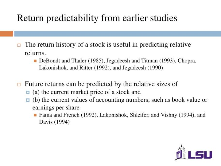 Return predictability from earlier studies