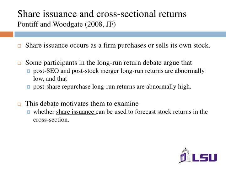 Share issuance and cross-sectional returns