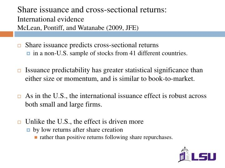 Share issuance and cross-sectional returns: