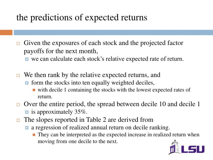 the predictions of expected returns
