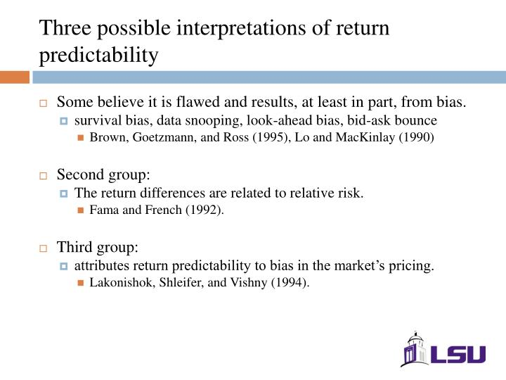 Three possible interpretations of return predictability