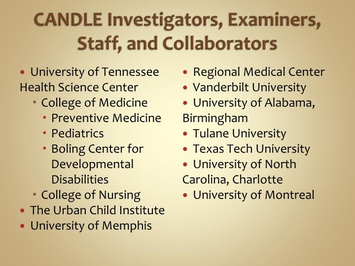 CANDLE Investigators, Examiners, Staff, and Collaborators